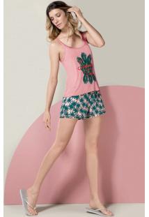 Pijama Feminino Em Viscose Com Regata E Shorts Estampados