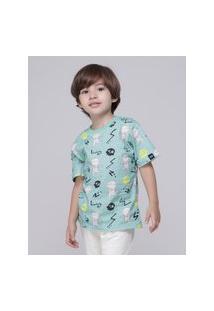 Amaro Feminino Caiçarinhas Baby Camiseta Infantil Manga Curta, Verde Claro