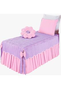Colcha Mariana Flor Solteiro Kit Quarto Infantil 4 Peã§As Rosa - Multicolorido - Dafiti