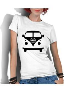 Camiseta Criativa Urbana Kombi Carro Antigo Clássico - Feminino-Branco