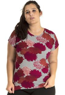Blusa Konciny Viscose Plus Size Colorido Rosa