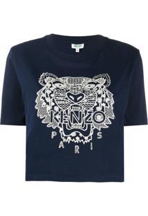 Kenzo Camiseta Com Bordado De Tigre - Azul