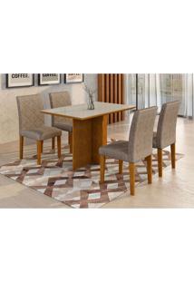 Conjunto De Mesa De Jantar Com Vidro E 4 Cadeiras Ane I Suede Amassado Imbuia E Chocolate