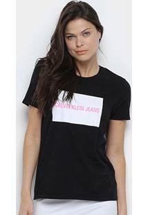 Camiseta Calvin Klein Manga Curta Feminina - Feminino-Preto