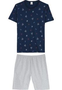 Pijama Azul Náutico Masculino