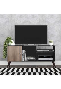 Rack Para Tv Até 42 Polegadas 1 Porta Retrô Rt3014 Preto/Rústico - Móvel Bento