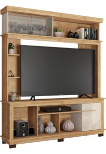 "Estante Home Para Tv De Até 65"" Polegadas Euphoria-Caemmun - Buriti / Off White"