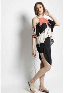 Vestido Assimétrico Com Pregas - Preto & Laranja - Ssantíssima