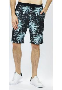 Bermuda Malha Full Print Black Jungle Emporio Alex Malha Multicolorido
