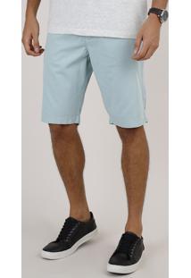 Bermuda De Sarja Masculina Slim Com Bolsos Verde Água