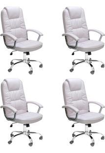 Conjunto Com 4 Cadeiras De Escritório Presidente Giratórias Finland Branco