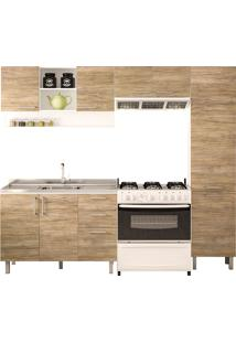 Cozinha Compacta Com 4 Peças Floripa 15-Politorno - Branco / Carvalho Claro