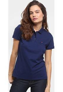 0b2bdd4aee Camisa Polo Ellus Piquet Elastano Logo Feminina - Feminino-Marinho