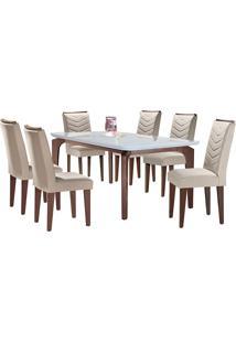 Conjunto De Mesa Para Sala De Jantar Com 6 Cadeiras Mel-Rufato - Veludo Creme / Off White / Café