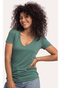 Camiseta Decote V Em Modal Terrário Cora Básico Feminina - Feminino