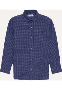 Camisa Mini Pf Xadrez Micro Reserva Mini Azul