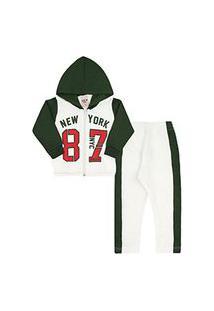 Conjunto Bebê Masculino Moletom Jaqueta Off White 87 E Calça Verde Militar (P/M/G) - Viston - Tamanho G - Off White,Verde Musgo