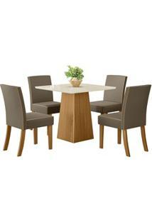 Sala De Jantar Mesa Dora 90Cm Com 4 Cadeiras Maris Nature/Off White/Be