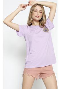 Camiseta Com Bordado - Lilã¡S & Amarela - Colccicolcci
