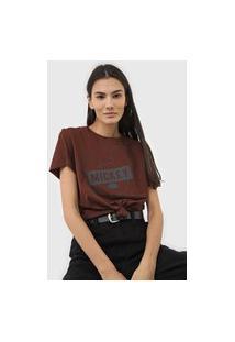 Camiseta Colcci Mickey Marrom