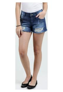 Short Juvenil Jeans Destroyed Strass Marisa