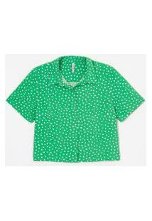Camisa Curta Em Viscose Estampa Poá | Blue Steel | Verde | P