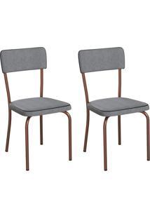 Conjunto Com 2 Cadeiras Mackay Cinza E Cobre