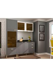 Cozinha Compacta Nevada Iv 6 Pt 4 Gv Grafite E Branca