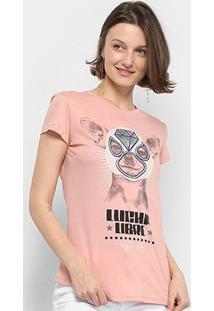 Camiseta Lez Lez Lucha Libre Feminina - Feminino-Rosa Escuro+Preto