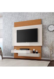 Painel Areado I Para Tv 60 Polegadas Branco Brilho E Freijo 141 Cm