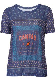 Camiseta Cantã£O Bandana Azul - Azul - Feminino - Poliã©Ster - Dafiti
