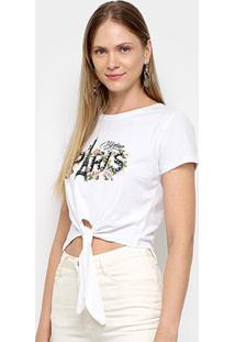 Camiseta Sofia Fashion Cropped Paris Nó Feminina - Feminino-Branco