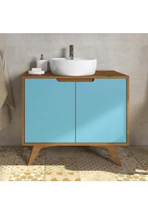 Gabinete Para Banheiro Retrô 2 Portas Tendence P E C Artemobili Garapa/Azul