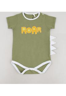 """Body Infantil """"Roar"""" Com Barbatana Manga Curta Verde"""