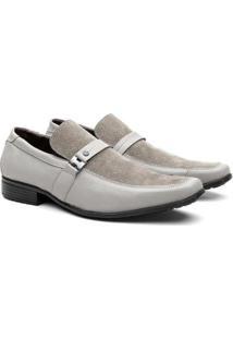 Sapato Social Hshoes Couro Fivela Com Camurça Conforto Masculino - Masculino-Bege