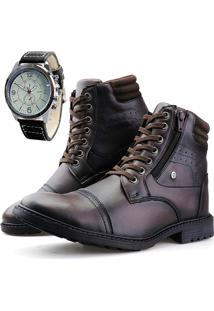 Bota Casual Touro Boots Furos ZãPer Cafã© + Relã³Gio Marrom - Marrom - Masculino - Dafiti