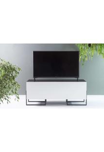 Rack Para Tv Pequeno Preto Estilo Industrial Pés De Metal E 2 Portas Brancas Crosby 123X43,6X48,5 Cm