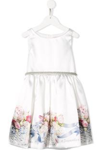 Monnalisa Vestido Com Detalhe Floral - Branco