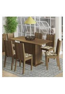 Conjunto Sala De Jantar Madesa Celeny Mesa Tampo De Madeira Com 6 Cadeiras Rustic/Lírio Bege