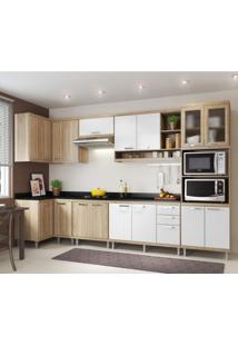 Cozinha Completa Com Tampo 15 Portas 8 Peças Sicília Multimóveis Argila/Branco
