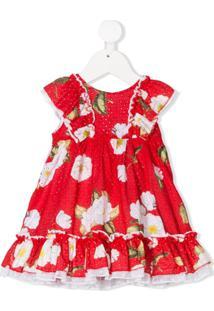 Monnalisa Vestido Com Babados E Estampa Floral - Vermelho