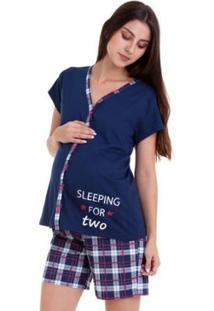 789a4b47acde12 Pijama De Amamentação Bermudoll Luna Cuore 18001 - Feminino-Marinho