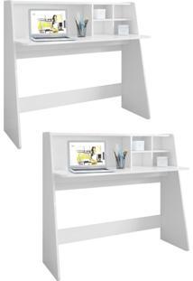 Kit 2 Mesas Para Computador Notebook Escrivaninha Idealle Branco - Mpozenato