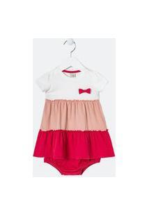 Vestido Infantil Tricolor Com Calcinha - Tam 0 A 18 Meses   Teddy Boom (0 A 18 Meses)   Multicores   6-9M