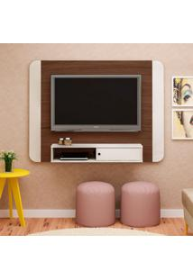 Painel Para Tv Até 50 Polegadas Wave Amêndoa E Off White 140 Cm