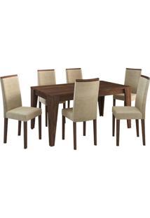 Conjunto Sala De Jantar Gran Belo Mesa 6 Cadeiras Suede Vanilha Nogal