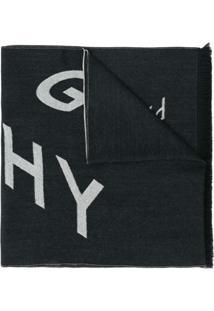Givenchy Cachecol De Lã Com Estampa De Logo - Preto