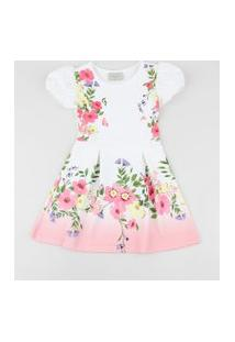 Vestido Infantil Estampado Floral Manga Curta Bufante Off White