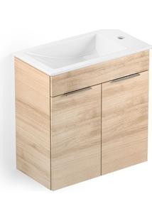 Gabinete Para Banheiro Suspenso De Madeira Cube 60X34Cm Com Portas Carvalho Celite