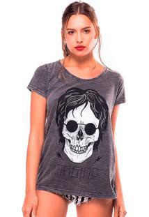 Camiseta Estonada Skull Lennon Useliverpool Cinza